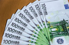 Money. Euro banknotes lying on a table in an envelope Royalty Free Stock Images
