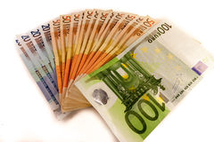 Money. Euro banknotes open and on desk stock photo