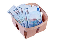 Money euro in box isolated. Royalty Free Stock Photo