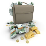 Money Euro on a briefcase Royalty Free Stock Images