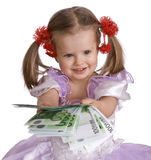 Money euro and child girl in dress. Stock Images