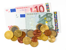Money - Euro. Coin and paper moneys royalty free stock photo
