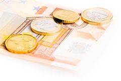Money euro coins and banknote Stock Photos