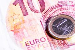 Money euro coins and banknotes royalty free stock photos