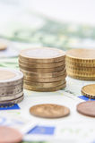 Money euro coins and banknotes Royalty Free Stock Photo
