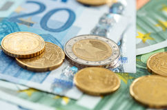 Money euro coins and banknotes Royalty Free Stock Photography
