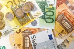 Different Euro banknotes from 5 to 500 Euro stock image