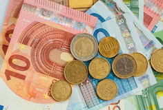 Money euro coins and banknotes Royalty Free Stock Image