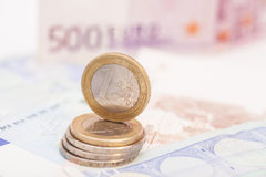 Money euro coins and banknotes Stock Image