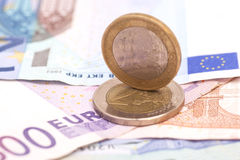 Money euro coins and banknotes Royalty Free Stock Images