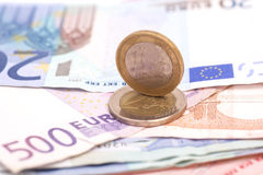 Money euro coins and banknotes Stock Photos