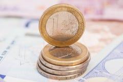 Money euro coins and banknotes Stock Photos