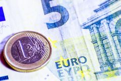 Money euro coins and banknotes.  stock photography
