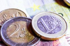 Money euro coins and banknotes.  royalty free stock images