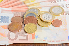 Money euro coins and banknotes Stock Photography