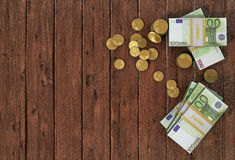 Money: euro coins and bills close up Royalty Free Stock Photography