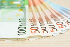 Money, Euro currency (EUR) banknotes Stock Photos
