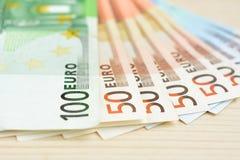 Money, Euro currency (EUR) banknotes Stock Photos