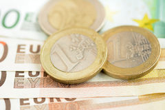 Money, Euro currency (EUR) banknotes and coins Stock Images