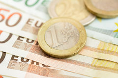 Money, Euro currency (EUR) banknotes and coins Royalty Free Stock Photography