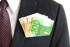 Money, Euro currency(EUR) bills, in businessman suit pocket Stock Photography