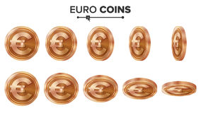 Money. Euro 3D Copper Coins Vector Set. Realistic Illustration. Flip Different Angles. Money Front Side. Investment. Concept. Finance Coin Icons, Sign, Success Stock Photo