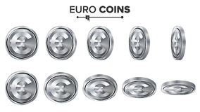 Money. Euro 3D Silver Coins Vector Set. Realistic Illustration. Flip Different Angles. Money Front Side. Investment Royalty Free Stock Image