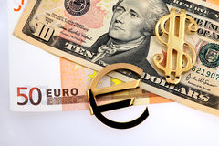 The money euro and dollars Royalty Free Stock Photo