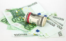 Money, euro and dollars on a white background Royalty Free Stock Photo