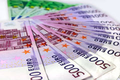Money of Euro a fan. Lay on a white background Royalty Free Stock Photo