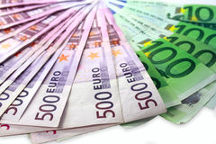 Money of Euro a fan lay. On a white background Royalty Free Stock Images