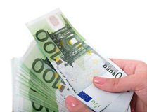 Money euro in female hand. Stock Photography