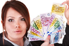 Money euro with happy girl in business suit. Royalty Free Stock Image