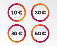 Money in Euro icons. Ten, twenty, fifty EUR. Money in Euro icons. 10, 20, 30 and 50 EUR symbols. Money signs Infographic design buttons. Circle templates Royalty Free Stock Photography