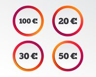 Money in Euro icons. Hundred, fifty EUR. Money in Euro icons. 100, 20, 30 and 50 EUR symbols. Money signs Infographic design buttons. Circle templates. Vector Royalty Free Stock Photography
