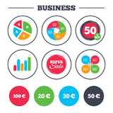 Money in Euro icons. Hundred, fifty EUR. Business pie chart. Growth graph. Money in Euro icons. 100, 20, 30 and 50 EUR symbols. Money signs Super sale and Stock Illustration