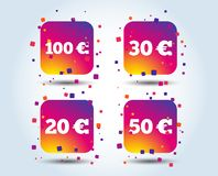 Money in Euro icons. Hundred, fifty EUR. Money in Euro icons. 100, 20, 30 and 50 EUR symbols. Money signs Colour gradient square buttons. Flat design concept vector illustration