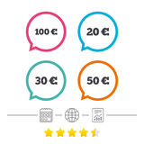 Money in Euro icons. Hundred, fifty EUR. Money in Euro icons. 100, 20, 30 and 50 EUR symbols. Money signs Calendar, internet globe and report linear icons. Star Royalty Free Illustration