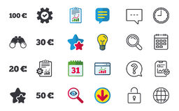 Money in Euro icons. Hundred, fifty EUR. Money in Euro icons. 100, 20, 30 and 50 EUR symbols. Money signs Chat, Report and Calendar signs. Stars, Statistics and Vector Illustration