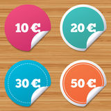 Money in Euro icons. Ten, twenty, fifty EUR. Round stickers or website banners. Money in Euro icons. 10, 20, 30 and 50 EUR symbols. Money signs Circle badges Royalty Free Illustration