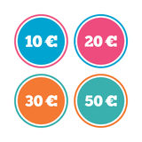 Money in Euro icons. Ten, twenty, fifty EUR. Money in Euro icons. 10, 20, 30 and 50 EUR symbols. Money signs Colored circle buttons. Vector Royalty Free Stock Photography