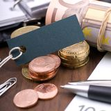 Money, euro and label Royalty Free Stock Photo