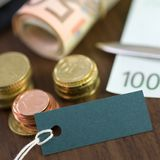 Money, euro and label Royalty Free Stock Photography
