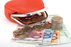 Money euro with purse Royalty Free Stock Images