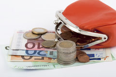 Money euro with purse Stock Images
