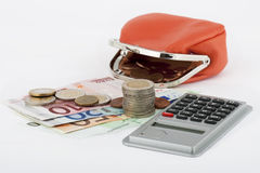 Money euro with purse. Isolated against white background Stock Photos