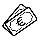 Money euro vector icon. Black and white cash illustration. Outline linear banking icon. Royalty Free Stock Photography