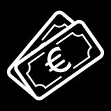 Money euro vector icon. Black and white cash illustration. Outline linear banking icon. Stock Photos