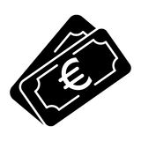 Money euro vector icon. Black and white cash illustration. Solid linear banking icon. Royalty Free Stock Images
