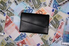 Money euro and wallet Stock Photo